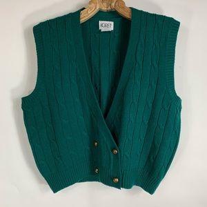 Vintage Green Sweater Vest Double Buttons Sz XL